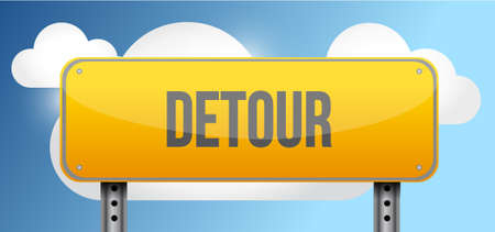 blue signage: detour yellow street road sign illustration design