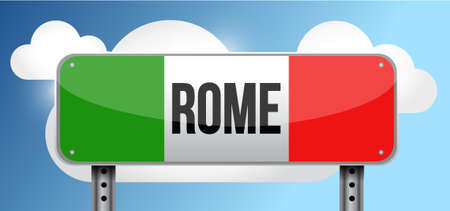 italy street: rome italy road street sign illustration design graphic