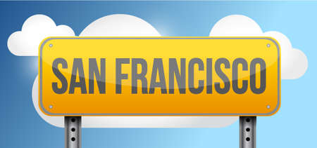 san francisco yellow street road sign illustration design