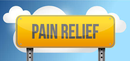 display problem: pain relief yellow street road sign illustration design
