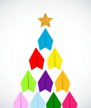 gold colour: paper airplanes christmas tree illustration design isolated over white