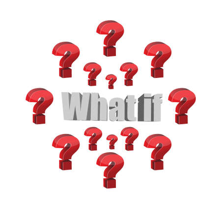 what if question illustration design graphic over white 일러스트