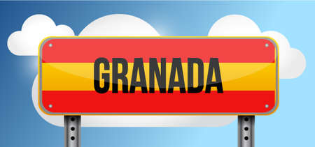 blue signage: granada spain road street sign illustration design graphic