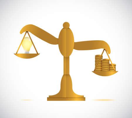money more expensive than ideas. balance illustration design graphic Illustration