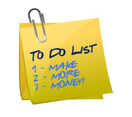 more money: to do list. make more money illustration design graphic Illustration