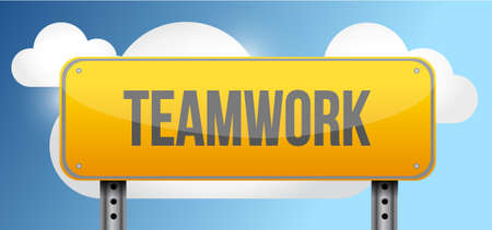 highway sign: teamwork yellow street road sign illustration design Illustration