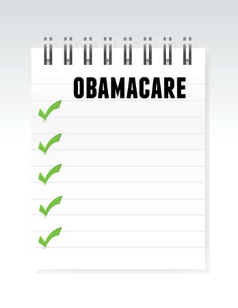 tax policy: obamacare list note paper illustration design graphic