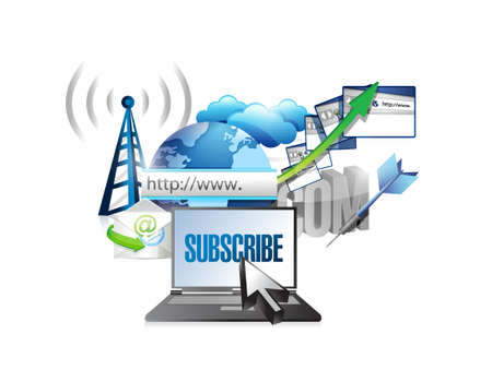 subscribe and stay connected online concept illustration design