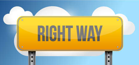 right way yellow street road sign illustration design