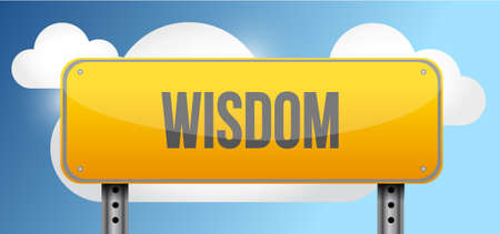 wisdom yellow street road sign illustration design