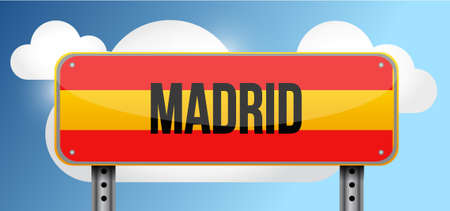 madrid: madrid yellow street road sign illustration design