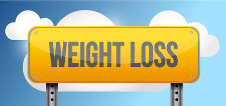 notify: weight loss yellow street road sign illustration design
