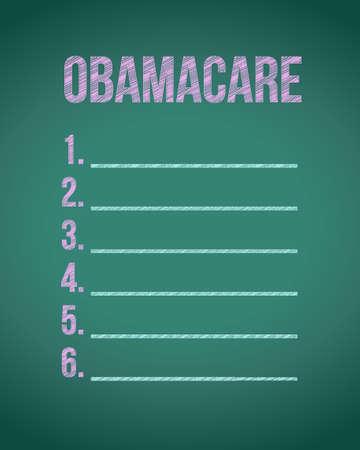 obama care: obama care list board illustration design graphic