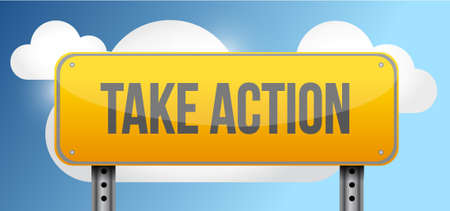 note board: take action yellow street road sign illustration design