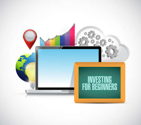investing: investing for beginners online business concept sign illustration design graphic