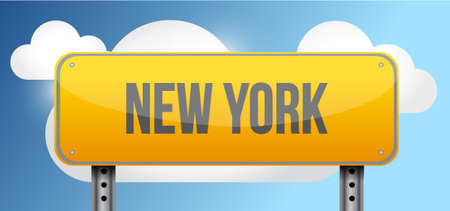 blue signage: new york yellow street road sign illustration design
