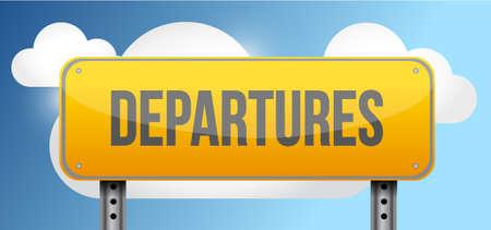 departures: departures yellow street road sign illustration design Illustration