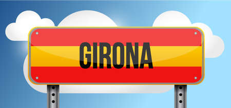 blue signage: girona spain road street sign illustration design graphic Illustration