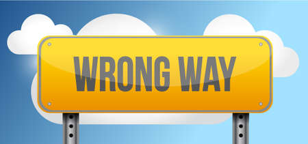 wrong way yellow street road sign illustration design