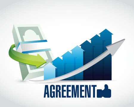 business agreement: business agreement sign illustration design graphic over white