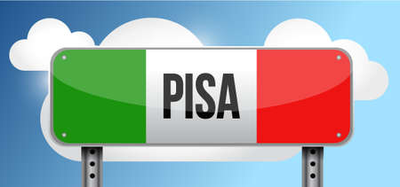 green road sign: pisa italy road street sign illustration design graphic