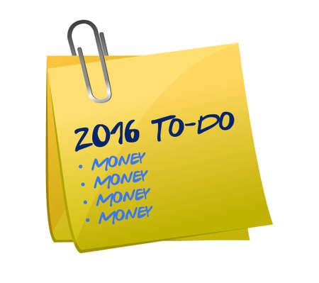 2016 zo veel ding naar lijst illustratie memo bericht ontwerp doen Stock Illustratie