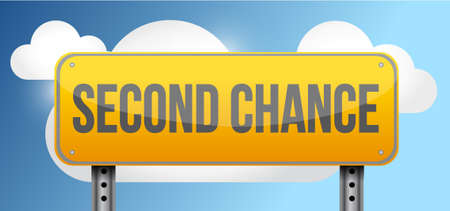 second: second chance yellow street road sign illustration design