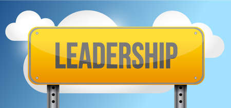 blue signage: leadership yellow street road sign illustration design