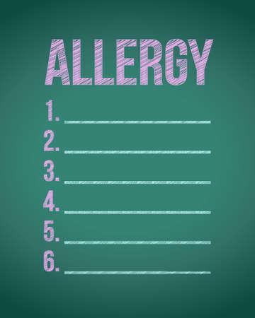 hypersensitivity: allergy list chalk board illustration design graphic