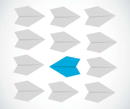 reckless: Leader changing the goals concept. paper airplanes illustration