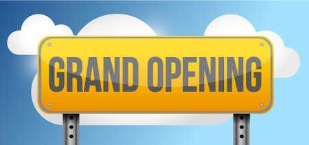 inauguration: grand opening yellow street road sign illustration design