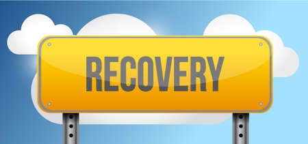 road to recovery: recovery yellow street road sign illustration design Illustration