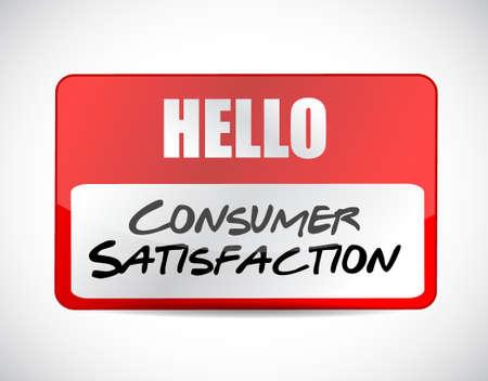 hi five: Consumer Satisfaction name tag sign concept illustration design graphic Illustration