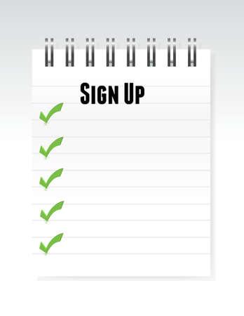signup: white sign up notepad illustration design graphic