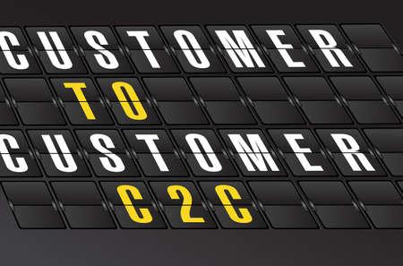 costumer: C2C concept sign on airport board background. illustration design Illustration