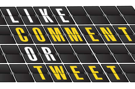 microblog: social network concept sign on airport board background. illustration design