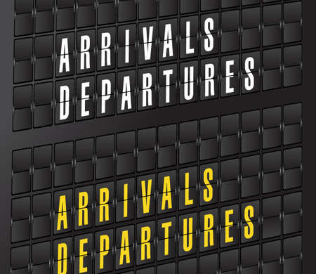 arrival: arrival and departures sign on airport board background. illustration design