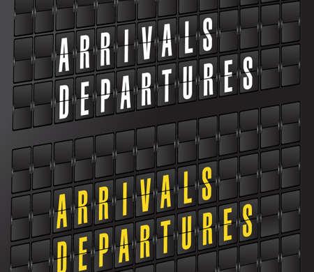 departures: arrival and departures sign on airport board background. illustration design