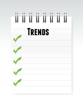economic forecast: trends notepad list of items illustration design graphic