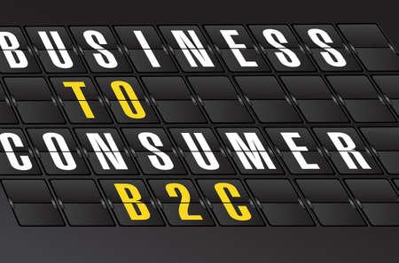 b2c: B2C sign on airport board background. illustration design Illustration