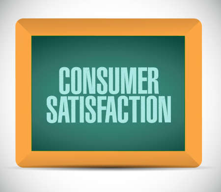 consumer: Consumer Satisfaction chalkboard sign concept illustration design graphic