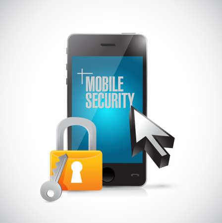 security lock: mobile security phone and lock illustration design graphics