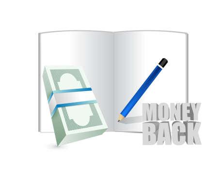 cash money: money back sign and cash bills illustration design graphics
