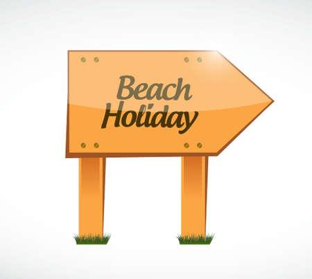 beach holiday wood sign illustration design graphic