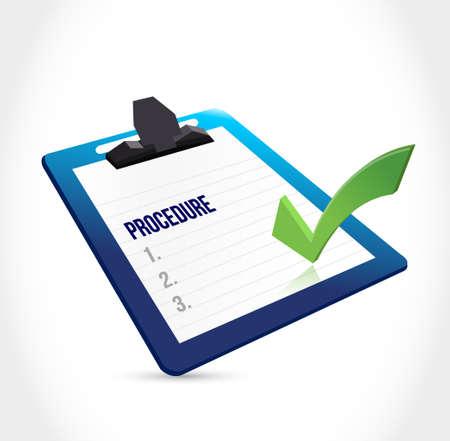 portapapeles procedimiento y marca de verificación Ilustración de diseño gráfico
