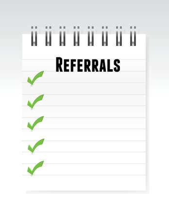 referrals: referrals notepad illustration design over a white background