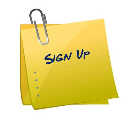 sign up list memo post illustration design graphic