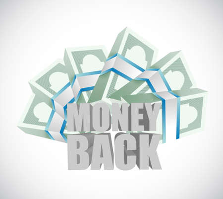 cash money: money back and cash bills illustration design graphics