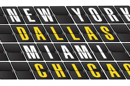 flight board: US cities concept sign on airport board background. illustration design