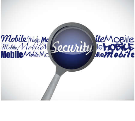 mobile security magnify glass illustration design graphic